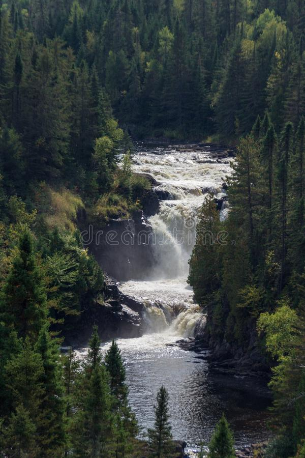 Waterfall of Val Jalbert in Canada. Beautiful Waterfall of Val Jalbert in Canada royalty free stock images