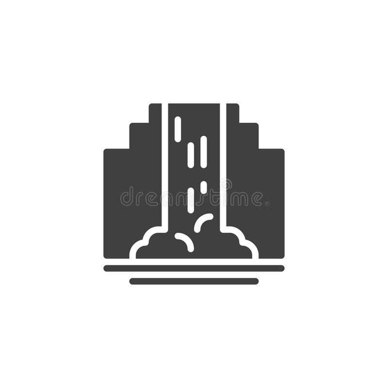 Waterfall vector icon. Filled flat sign for mobile concept and web design. Nature waterfall and mountain landscape simple solid icon. Symbol, logo illustration royalty free illustration