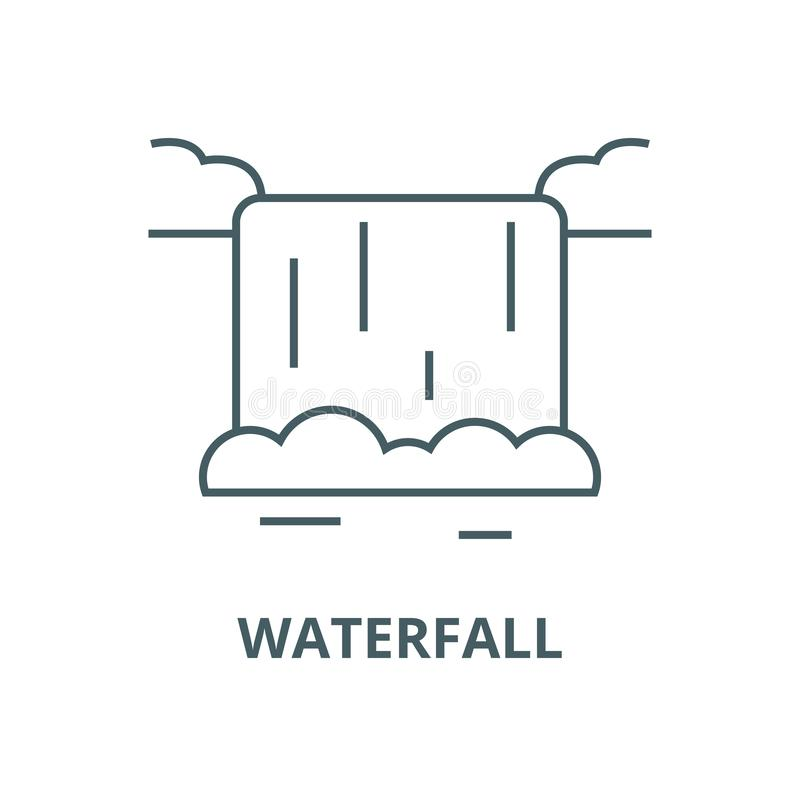 Waterfall vector line icon, linear concept, outline sign, symbol stock illustration
