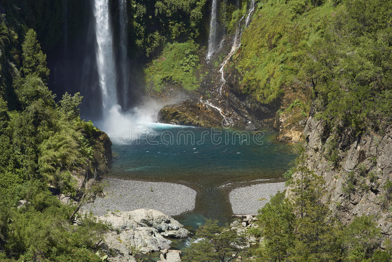 Waterfall Velo de la Novia - Maule, Chili image stock