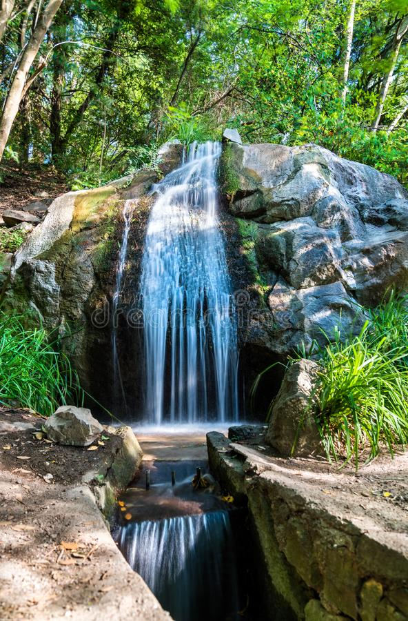 Waterfall in Vorontsov Park in Alupka, Crimea. Waterfall in Vorontsov Park in Alupka - Crimea, Europe stock images