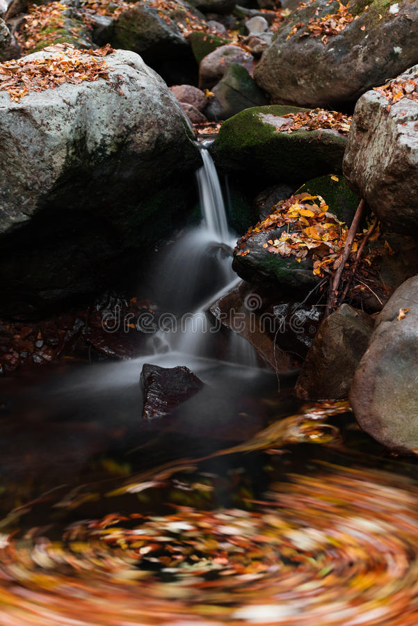 Waterfall whirl. Detail of whirl under the waterfall stock photo