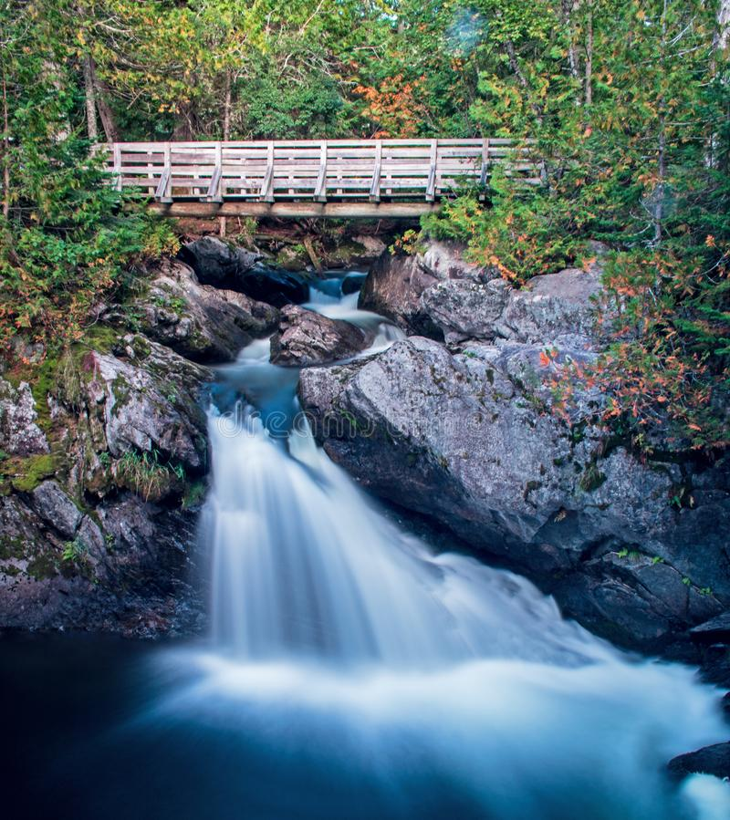 Waterfall On Williams Brook At Mount Carleton Provincial Park. A small but stunning waterfall on Williams Brook in Mount Carleton Provincial Park in the Canadian stock image