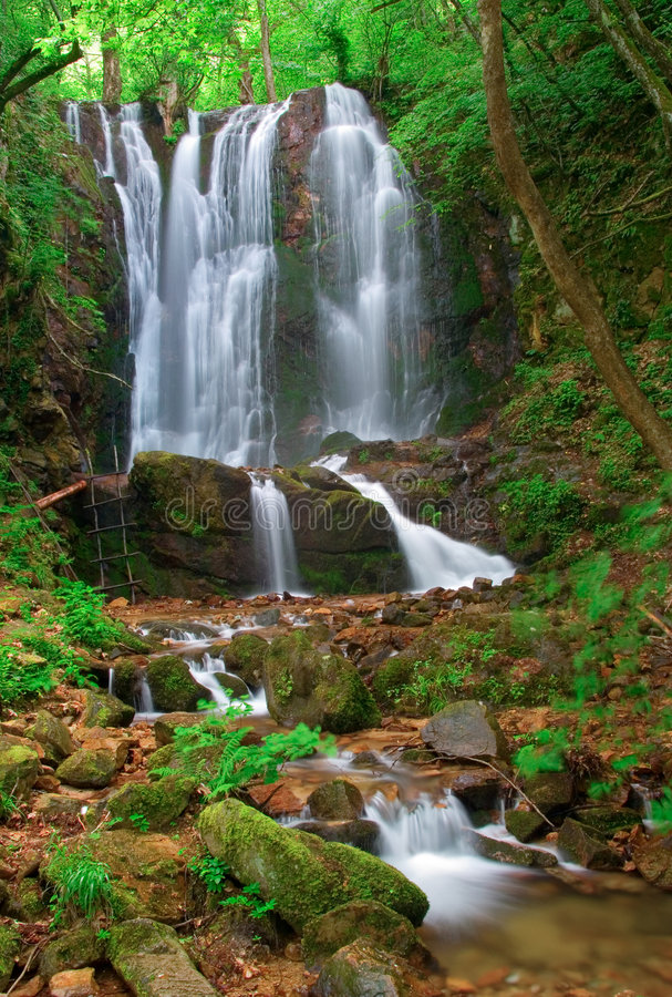 Waterfall in the woods of Kolesino village, Macedonia royalty free stock photos