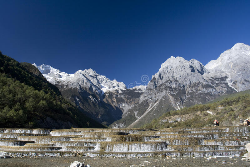 Download Waterfall With Yak At Jade Dragon Snow Mountain Stock Photo - Image of outdoor, asian: 12290302