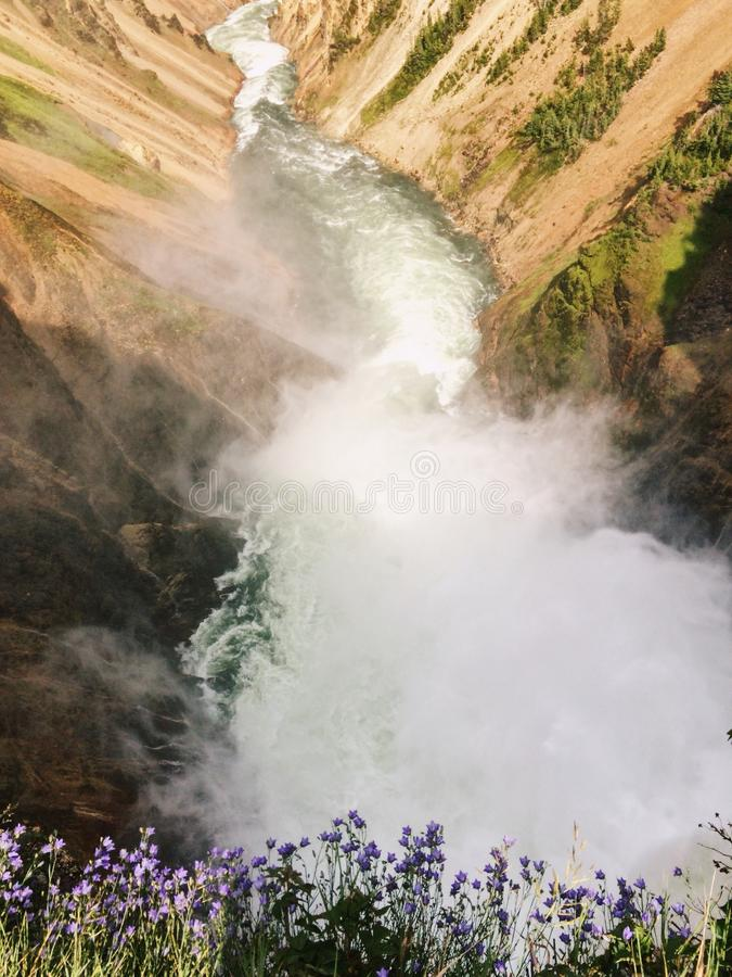 Waterfall in Yellowstone, canyon stock images
