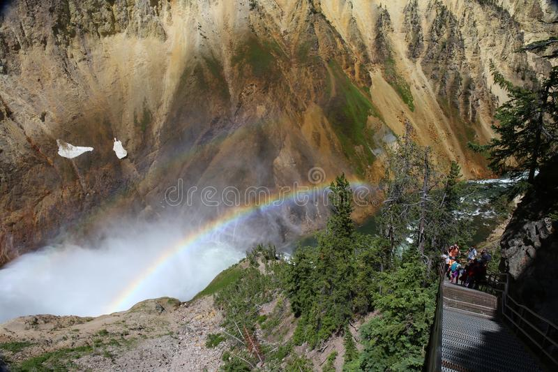 Waterfall in Yellowstone National Park with double rainbow stock photography