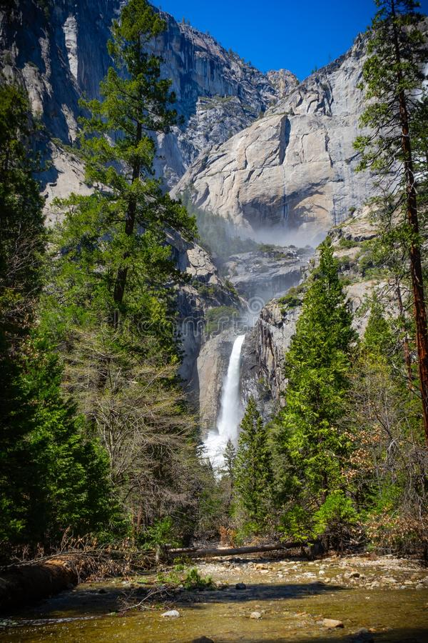 Lower waterfall at yosemite national park royalty free stock images