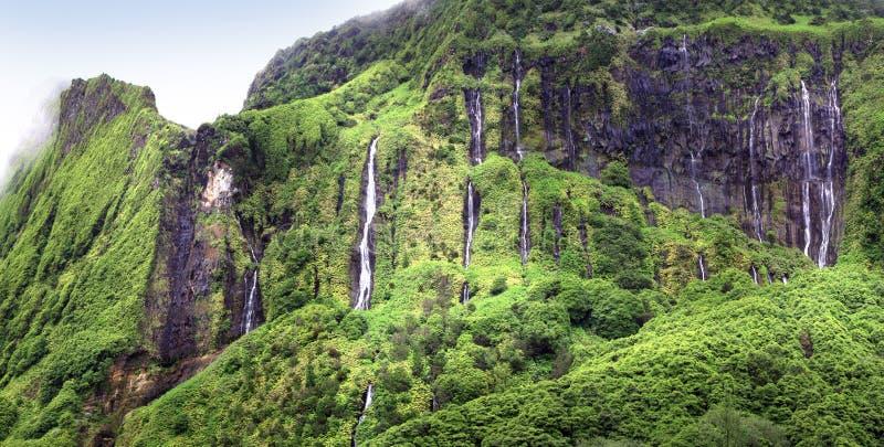 WATERFALLAS på den FLORES ÖN - Azores - Portugal arkivfoton