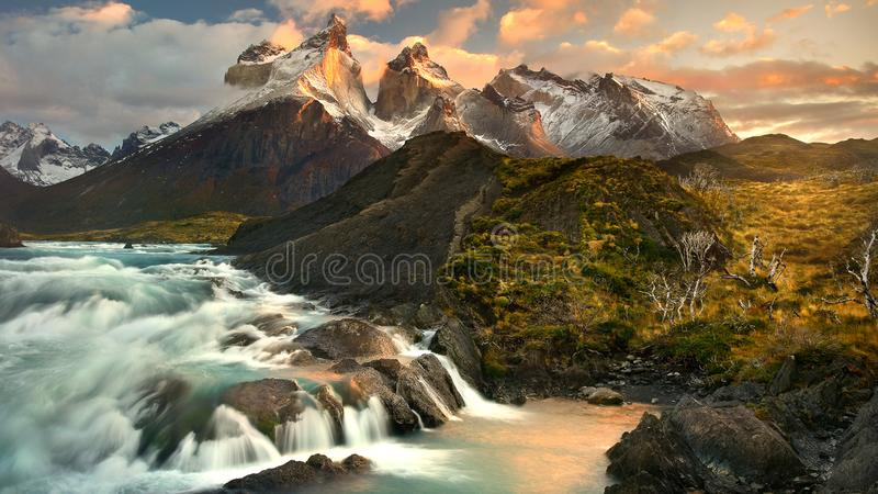 Waterfalls in alpine landscape royalty free stock images
