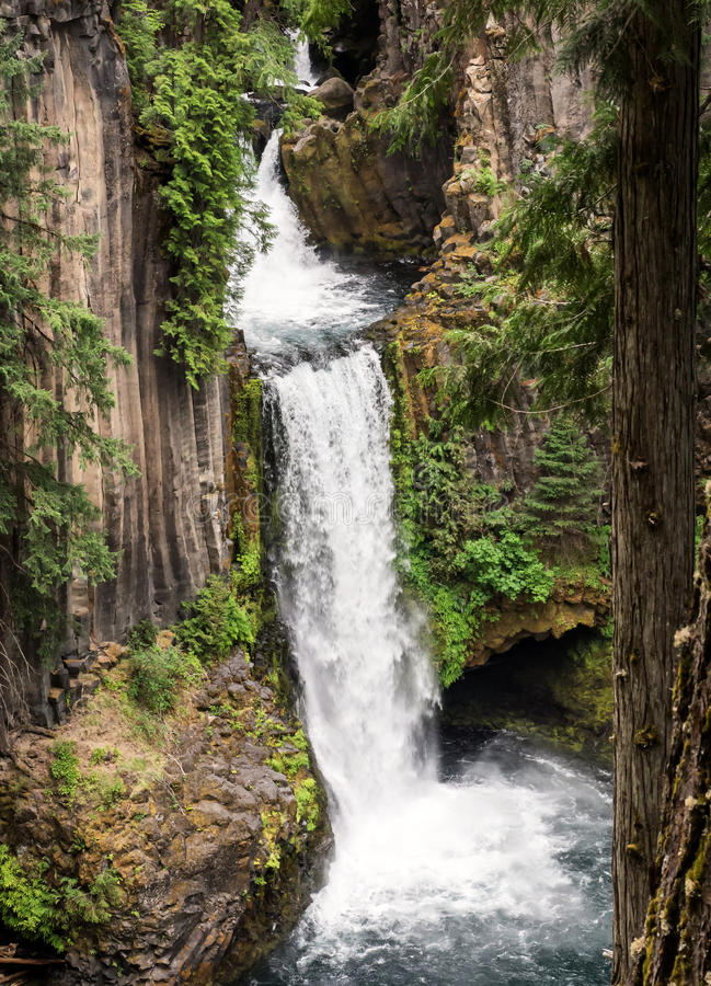 Waterfalls in basalt columned cliffs royalty free stock photography