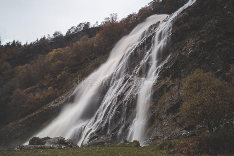 Waterfalls Between Brown Trees royalty free stock image