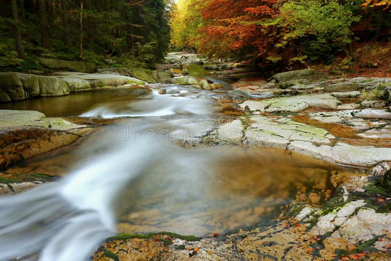 Waterfalls cascade in autumn forest. Beautiful colors of nature stock photos