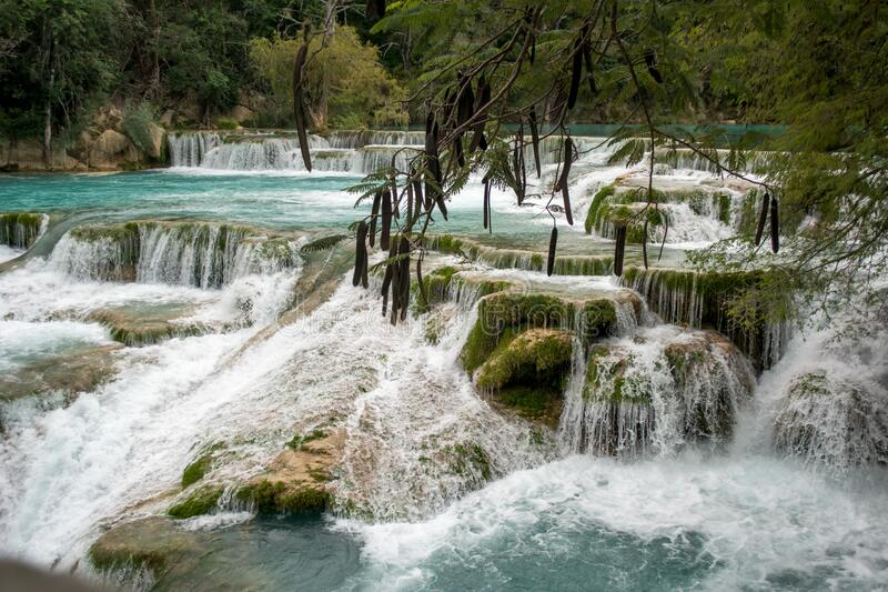 Waterfalls El Meco in México, Huasteca Potosina, San Luis Potosí. Set of beautiful continuous waterfalls with turquoise water flowing through the rocks El Meco stock photo
