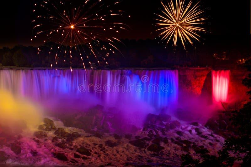 Waterfalls Fireworks royalty free stock photo