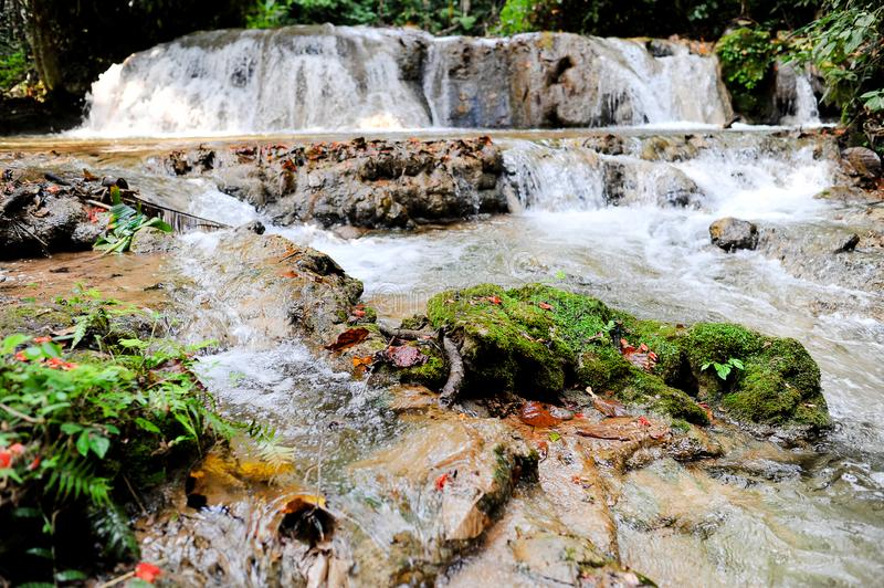 Waterfalls flow down from the mountains during the rainy season. royalty free stock photos