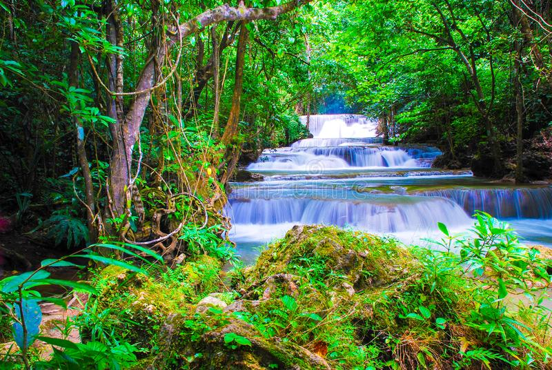Waterfalls in the forest at Kanchanaburi , thailand.  stock photo