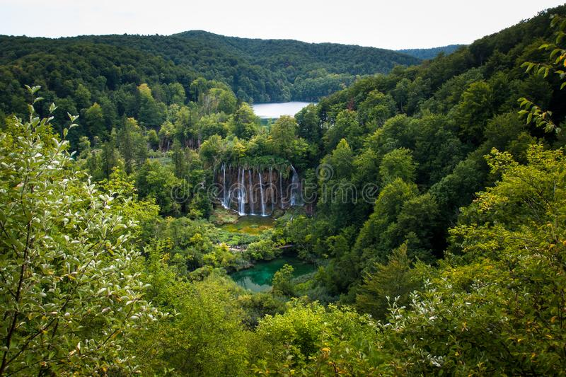 Waterfalls and forest, Plitvice Lakes, National Park, Forest, Croatia. Waterfalls in National park of Plitvice Lakes situated in Northern Croatia. Picture was royalty free stock images