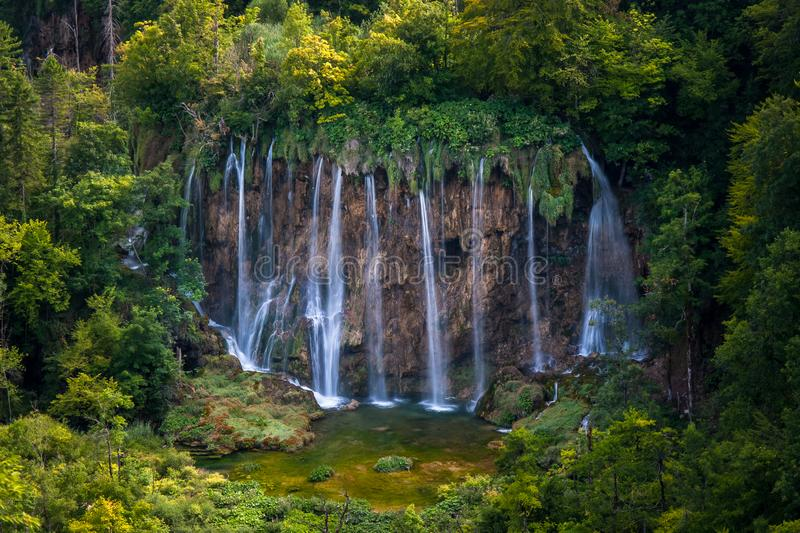 Waterfalls and forest, Plitvice Lakes, National Park, Forest, Croatia. Waterfalls in National park of Plitvice Lakes situated in Northern Croatia. Picture was stock photos
