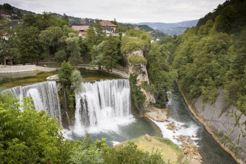 Waterfalls in Jajce, BiH stock images