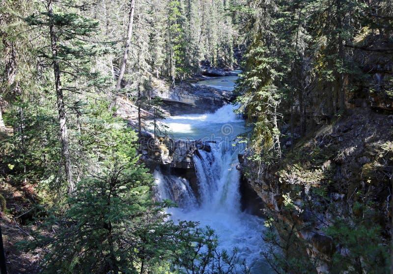 Waterfalls on Johnston Creek. Johnston Canyon - Banff National Park, Alberta, Canada stock photography