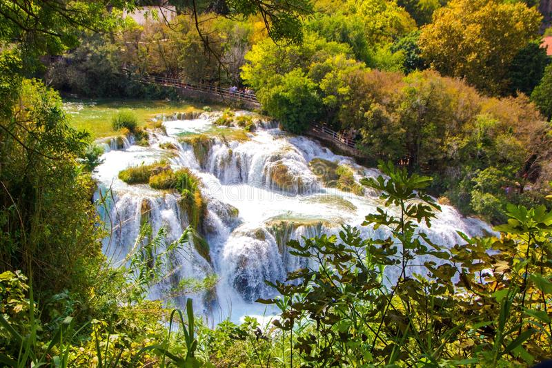Waterfalls in Krka National Park, Croatia. Magical landscape of flowing waterfalls stock photography