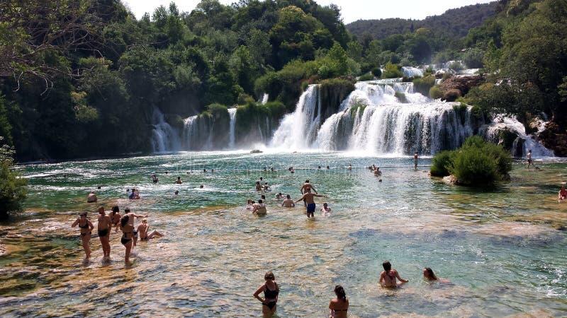 Waterfalls in the Krka National Park, Sibenik, Croatia royalty free stock photography