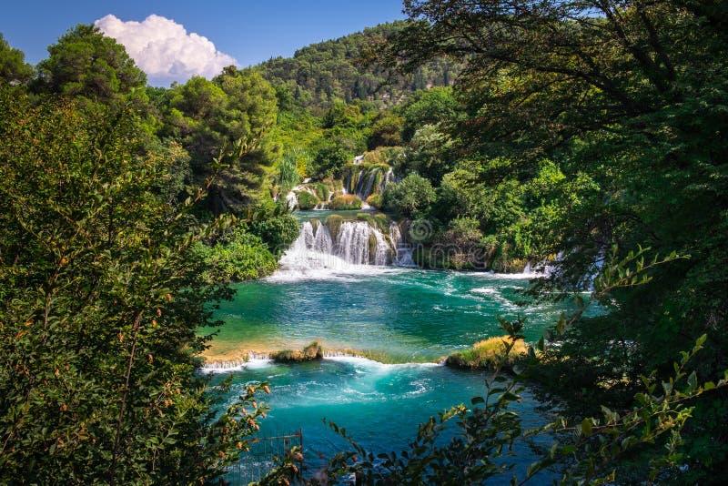 Waterfalls Krka National Park, Nature landscape in Dalmatia, Croatia near Sibenik royalty free stock image