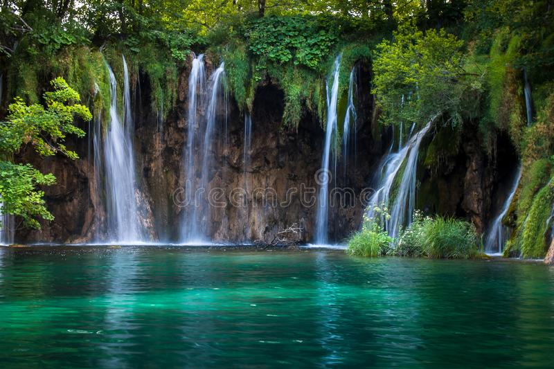 Waterfalls and lakes, Plitvice Lakes, National Park, Forest, Croatia. Waterfalls and lake in National park of Plitvice Lakes situated in Northern Croatia stock images