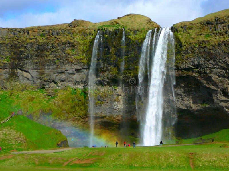 Waterfalls. The magnificent Seljalandsfoss waterfalls in Iceland stock photo