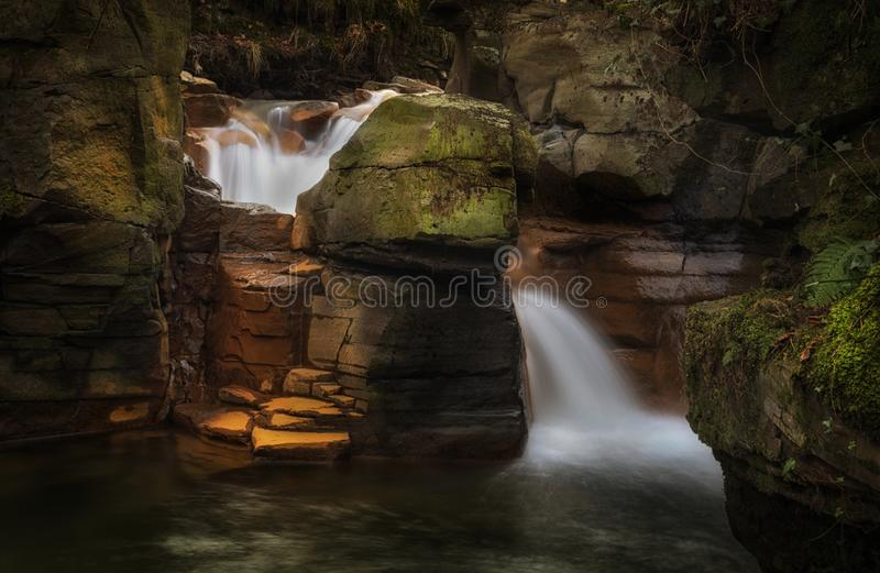 Melincourt Brook falls. Waterfalls at Melincourt Brook in Resolven, South Wales, UK royalty free stock images