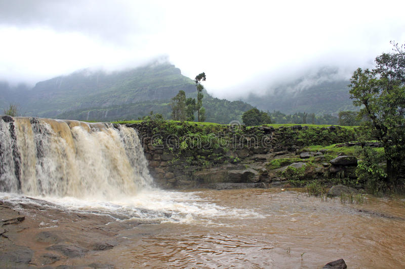 Waterfalls during Monsoon. During Monsoon numerous waterfalls can be see all across India stock image