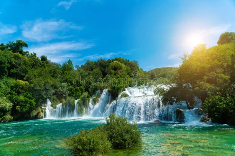 Waterfalls at National Park Krka, Dalmatia, Croatia royalty free stock image