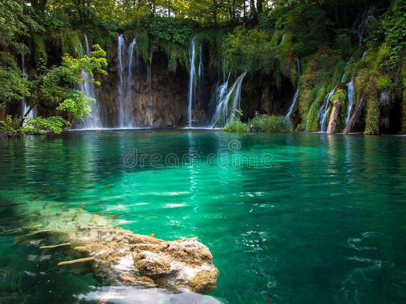 Beautiful Waterfalls, Plitvice Lakes, National Park, Forest, Croatia. Waterfalls in National park of Plitvice Lakes situated in Northern Croatia. Picture was royalty free stock image