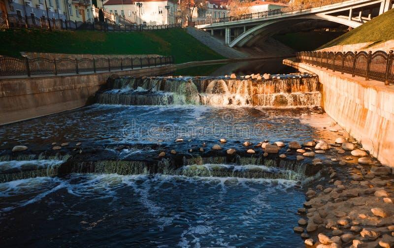 Waterfalls Near Bridge during Day royalty free stock photos