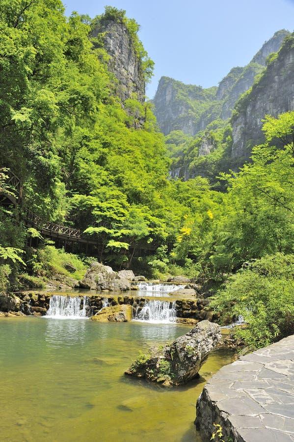 Waterfalls near Xiaofeng River stock photo