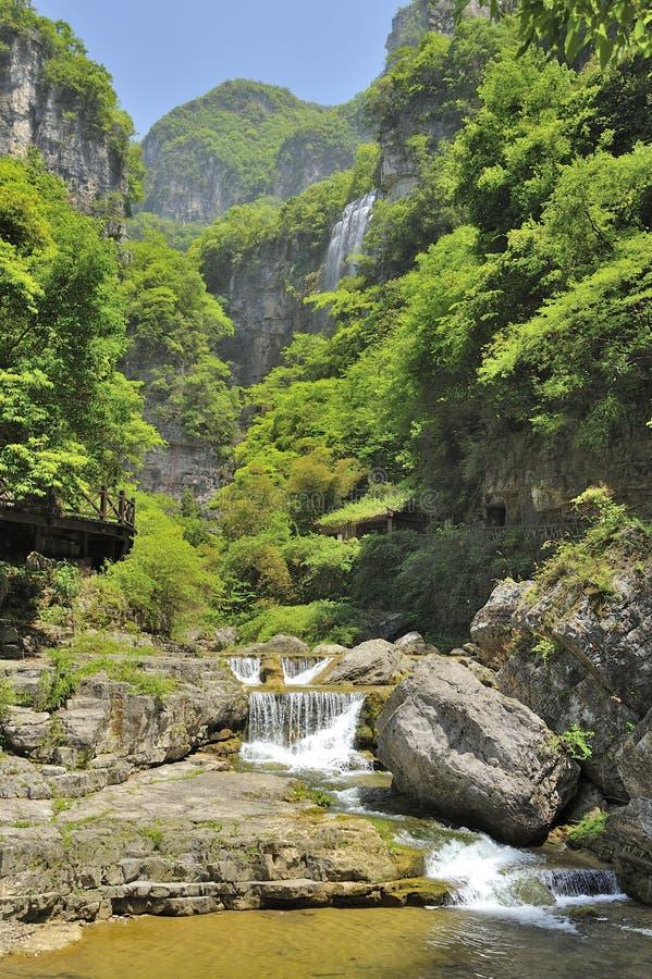 Waterfalls near Xiaofeng River stock photography