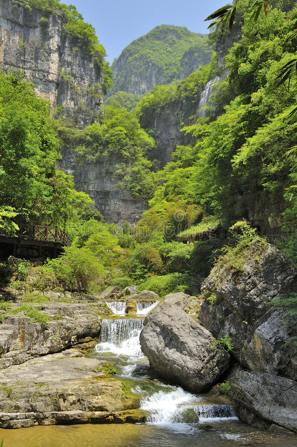 Waterfalls near Xiaofeng River royalty free stock images