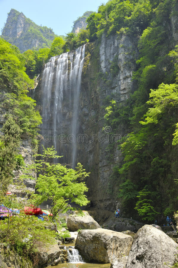 Waterfalls near Xiaofeng River royalty free stock image