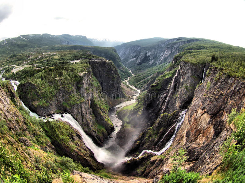Waterfalls. In Norway. Dramatic scenery of the beauty in nature stock image