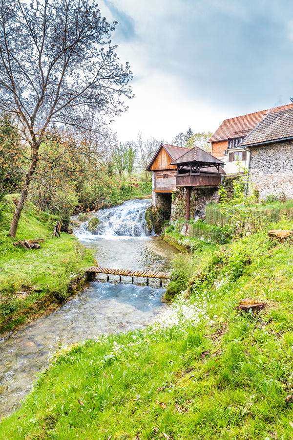 Waterfalls And Old Buildings - Rastoke, Croatia royalty free stock photo