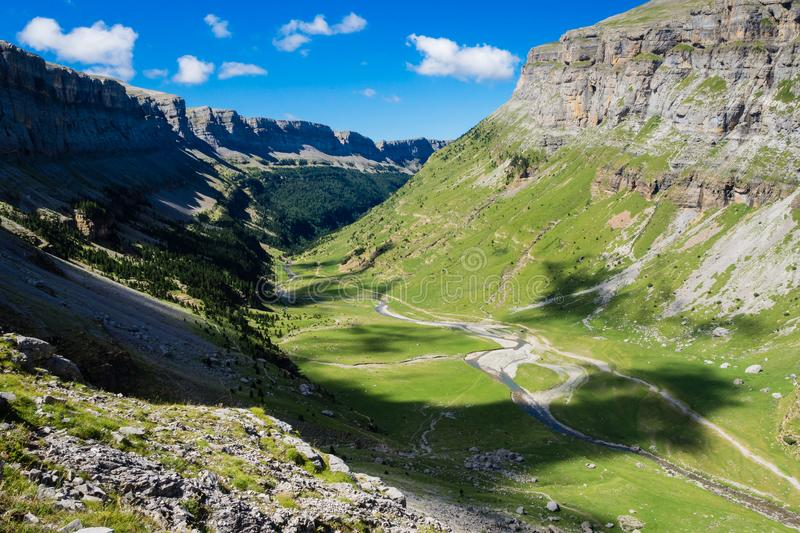 Waterfalls in Ordesa and monte perdido national park in Pyrinees range in Spain, Huesca, Vieew of the valley royalty free stock photo
