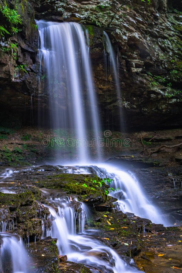 Waterfalls over cliff royalty free stock photo