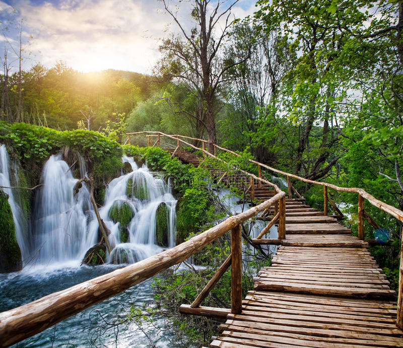 Waterfalls and pathway in the Plitvice National Park, Croatia royalty free stock photo