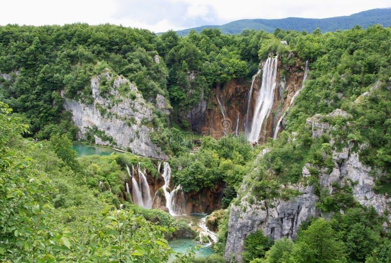 Waterfalls and rocks stock image