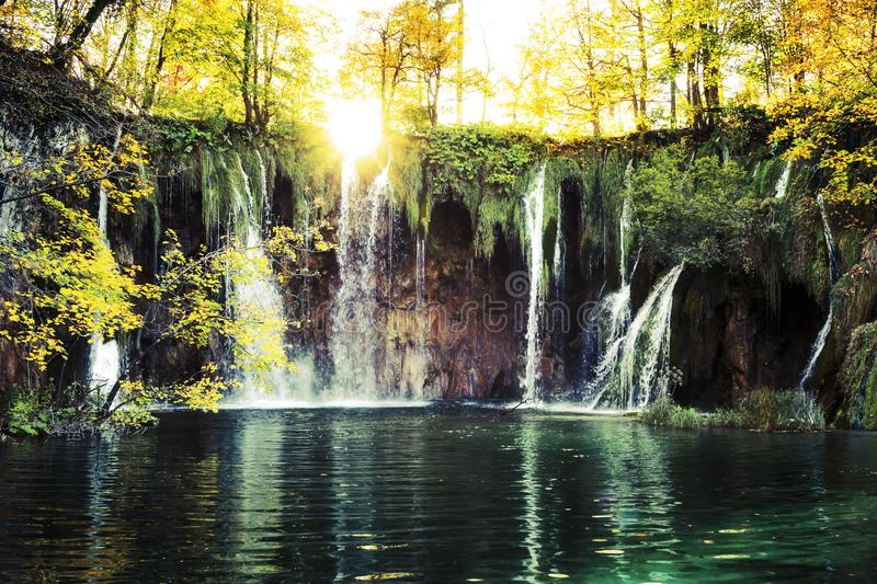 Waterfalls In the sunshine royalty free stock image