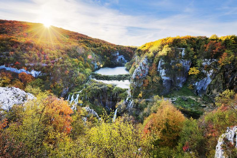 Waterfalls in the sunshine in Plitvice National Park royalty free stock image