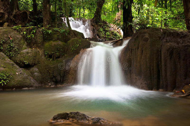 Waterfalls in Trang. Waterfalls Roy shun pan wangin Trang,Thailand royalty free stock photo