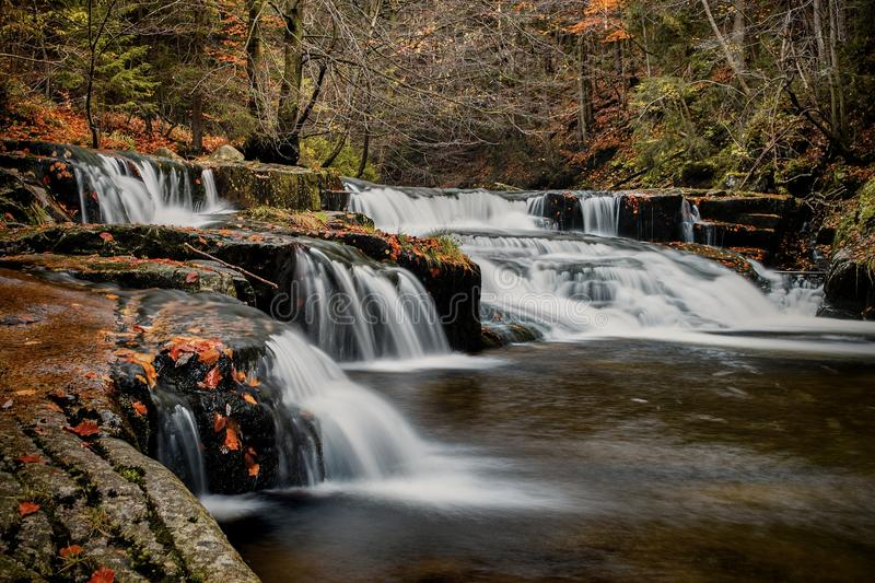 Waterfalls. Picture, long exposure, Giant mountains, Czech Republic stock image