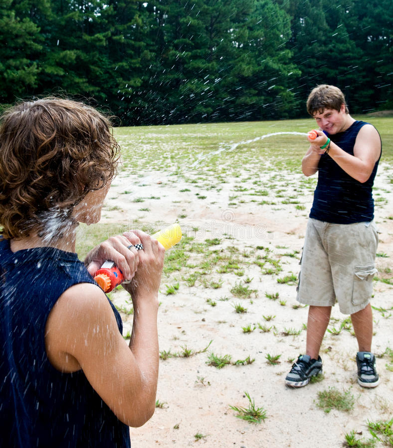 Waterfight ! images libres de droits